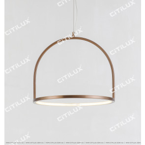 Brushed Green Bronze Round Led Modern Chandelier Small Citilux