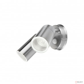 Denver-Ii 2 Light Round Exterior Spotlight With Sensor Inc 4W Led Globes-Stainless Steel BRI