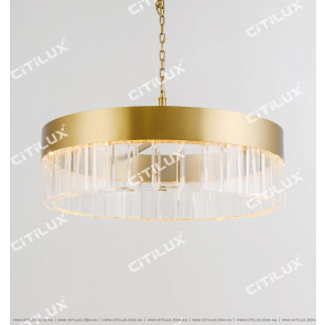 Wafer Round Stainless Steel Chandelier Large Citilux