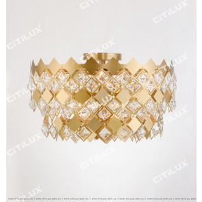 Diamond Stainless Steel Crystal Phase Ceiling Lamp Citilux