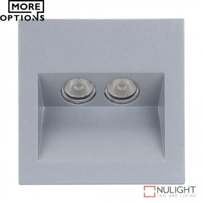 Ixis Rec Square 2W Recessed Steplight Silver Frame Led DOM