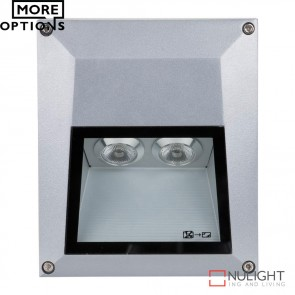 Ixis Sm Sqr Square 2W Surface Mounted Steplight Silver Body Led DOM