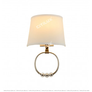 White Shade Gold Plate Wall Light Citilux