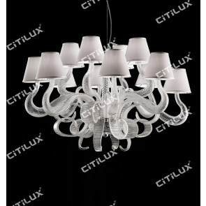 Hand-Made Transparent Glass Ribbon Chandelier Citilux