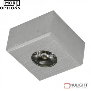 Power Puk 11 Square 700Ma 3W Led Cabinet Light Brushed Aluminium Finish Led DOM
