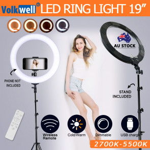 19 inches 5500K Dimmable Diva LED Ring Light Diffuser With Stand Make Up Studio Video