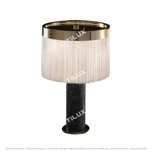 Black Gold Flower Marble Column Tassel Table Lamp Citilux