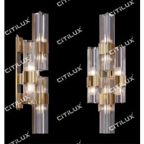 Light Luxury Metal Four-Corner Glass Wall Lamp Citilux