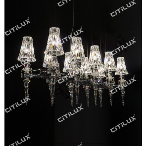 Cone Crystal Cover Double Row Chandelier Citilux