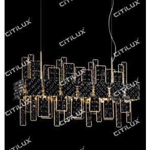Stainless Steel Black Square Crystal Dining Chandelier Citilux