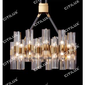 Light Luxury Metal Four-Cornered Glass Chandelier Citilux