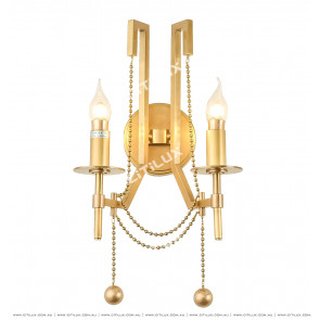 Full Copper Bead Chain Double Head Wall Light Citilux