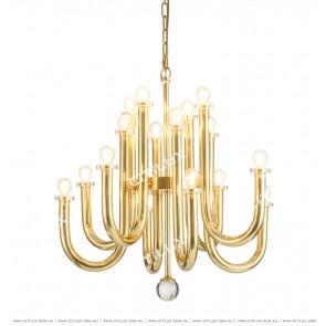 Modern Round Tube Bright Gold Chandelier Citilux
