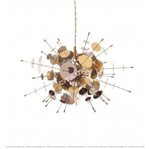 Metal Glass Round Gold And Silver Alternating Combination Chandelier Citilux