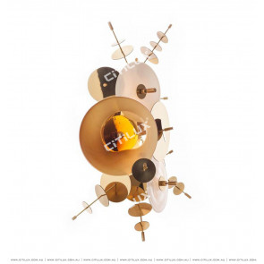 Metal Glass Disc Combination Wall Light Amber Citilux