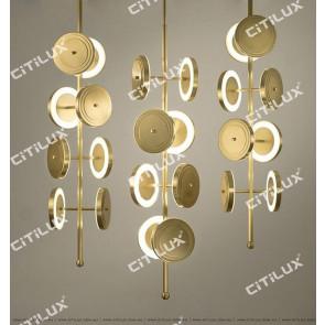 Golden Discs Hanging 8 Chandeliers Citilux