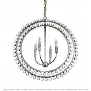 Modern American Transparent Bead Double Ring Chandelier Chrome Citilux