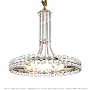 Modern American Transparent Bead Ring Chandelier Chrome Citilux