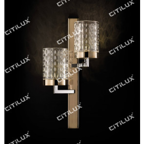 Stainless Steel Textured Glass Cover Engraved Double Head Wall Light Citilux