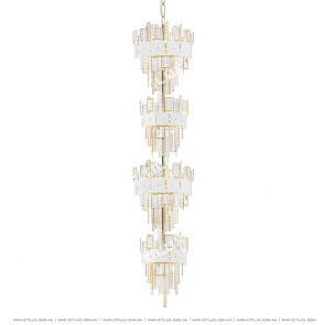 Stainless Steel White Square Crystal Chandelier In 4 Tiers Citilux