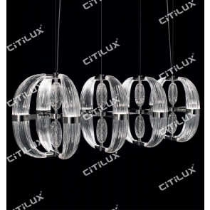 Modern Transparent Ring Glass Combination Dining Chandelier Citilux