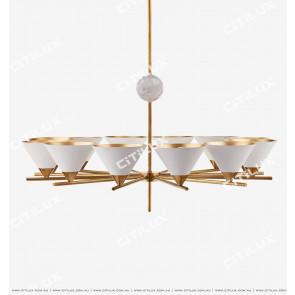 American Copper White + Copper Dimension Cover Single Tier Chandelier Citilux