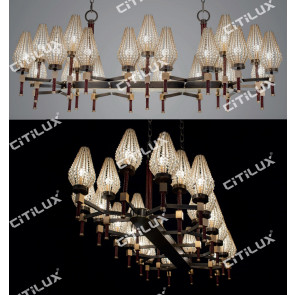 Modern Diamond-Shaped Crystal Ball Shade Long Chandelier Citilux