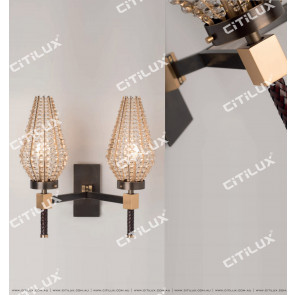 Modern Diamond-Shaped Crystal Ball Shade Double Head Wall Lamp Citilux