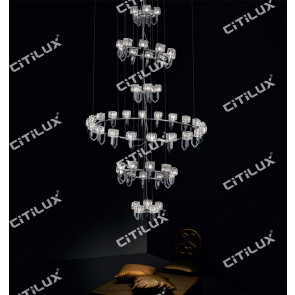 Simple Stainless Steel Crystal Square Cover Multi-Tier Hollow Large Chandelier / Can Be Customized Citilux