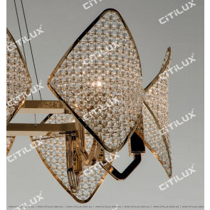 Modern Diamond-Shaped Crystal Ball Medium Chandelier Citilux