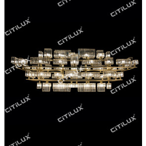 Modern Crystal Combination Large Stainless Steel Chandelier Citilux