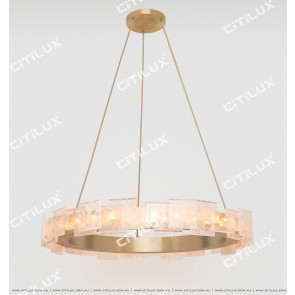 Modern Brushed Matt Copper Imitation Natural Crystal Stitching Chandelier Large Citilux