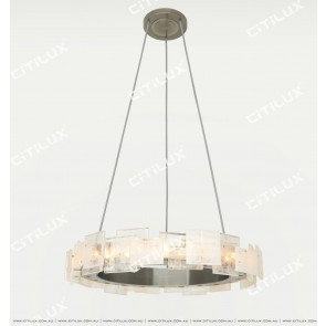 Modern Brushed Matt Nickel Imitation Natural Crystal Stitching Chandelier Small Citilux