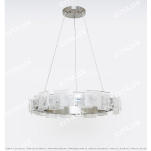 Modern Brushed Matt Nickel Imitation Natural Crystal Stitching Chandelier Large Citilux