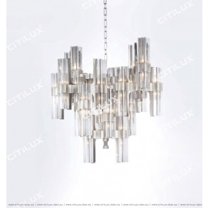 Light Luxury Metal Four-Cornered Glass High-Rise Chandelier Citilux