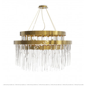 Modern Light Luxury Ice Cube Glass Double Chandelier Citilux