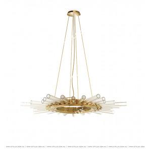 Metal Glass Sun-Shaped Single-Tier Chandelier Citilux