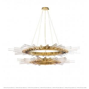 Metal Glass Sun-Shaped Double Chandelier Citilux