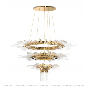 Metal Glass Sun-Shaped Three-Tier Chandelier Citilux