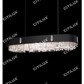 Rust Round Crystal Long Chandelier Citilux