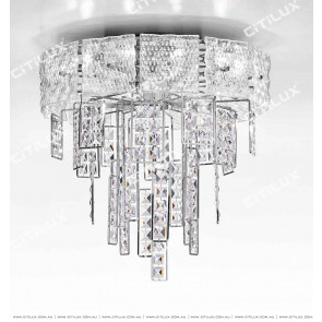 Stainless Steel Transparent Square Crystal Ceiling Lamp Citilux