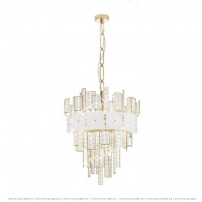 Stainless Steel White Square Crystal Chandelier Citilux