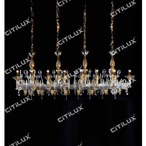 Keuropean Dry Ochre Glass Long Dining Chandelier Citilux
