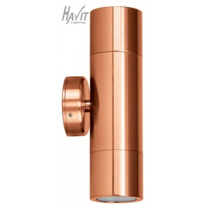 240V Tivah Two Light Outdoor Up/Down Wall Pillar Light Long Body in Solid Copper Havit