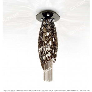 Stainless Steel Olive-Shaped Pearl Black Hanging Wire Ceiling Lamp Citilux