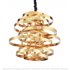 Post-Modern Irregular Coil Stainless Steel Chandelier Long Section Citilux