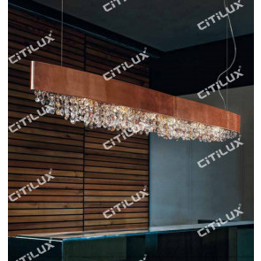 Nordic Olive-Shaped Rose Gold Chandelier Long Citilux