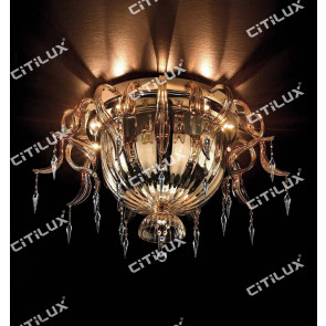 Handmade Orchid Glass Ceiling Light Citilux