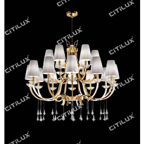 Simple European-Style Line Cut Stainless Steel Gold Double Chandelier Citilux