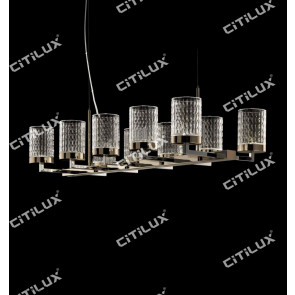 Stainless Steel Textured Glass Cover Carved Chandelier Citilux